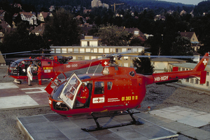 The first ambulance helicopter with two engines: the Bölkow BO 105 C