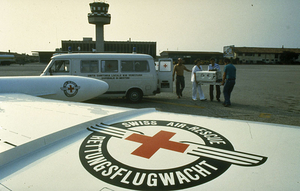 The air-ambulance HB-VFB transporting a newborn baby in an incubator