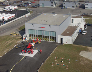 The new EC 145 at the Basel helicopter base